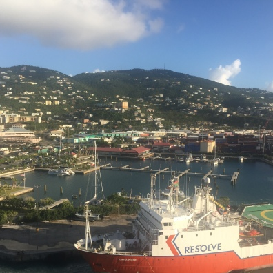 View of St Thomas from the cruise