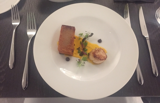 African Spiced Pork Belly and Scallop