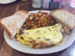 Bacon Omelette with Potatoes and Toast