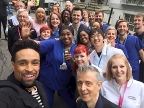 Ashley Banjo and Sara Cox with the Choir