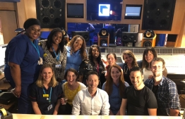 Some of the Choir with the Producers