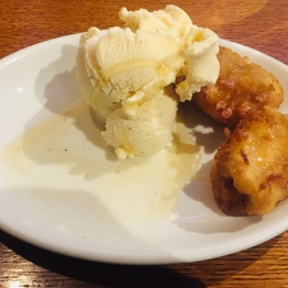 Banana Fritters with Vanilla Ice Cream