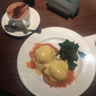 Eggs Benedict with Smoked Salmon and a Hot Chocolate