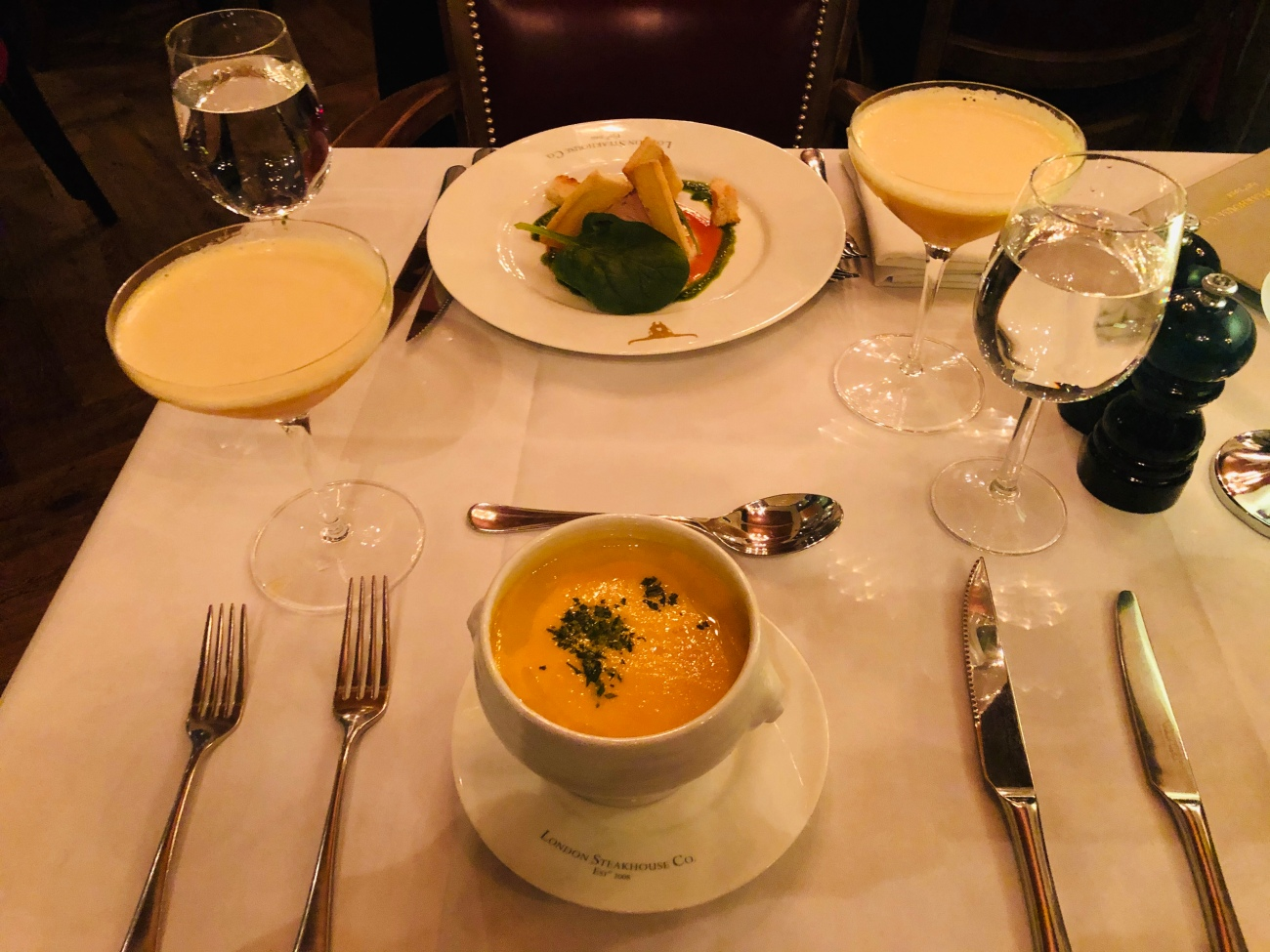 Carrot and Ginger Soup and Chicken Liver Parfait